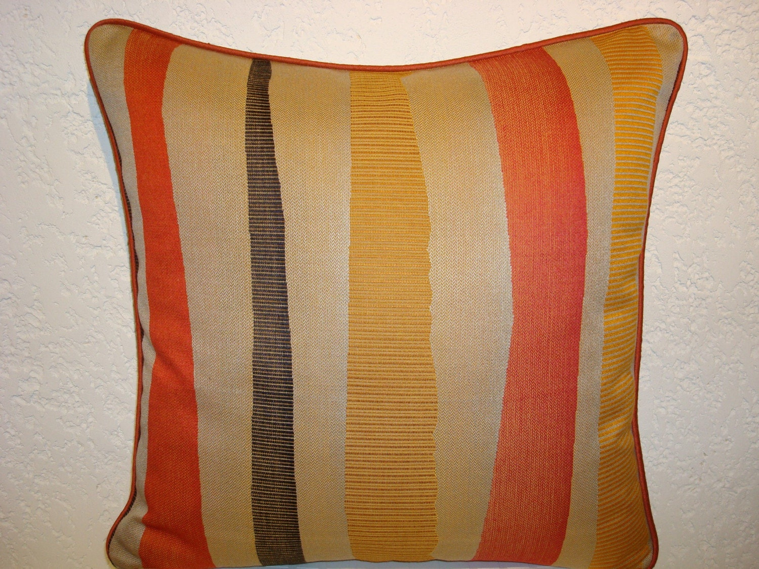 Modern Graphic Striped Pillow stone orange black yellow