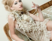 Baroque victorian Ivory mini dress