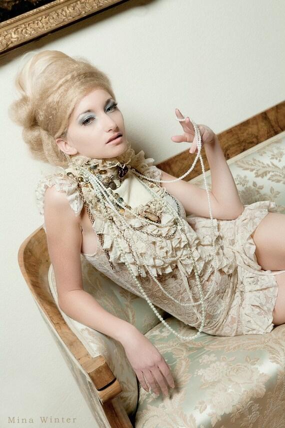 Baroque victorian Ivory mini dress