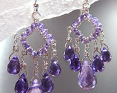 Wire Wrapped Earring - Morning Glory Amethyst Chandelier (Amethyst, Sterling Silver)  E-0112