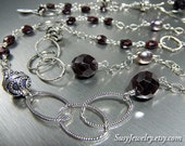Wire Wrapped Chain - Garnet LInked Long Necklace (Garnet, Pearl Sterling Silver)  N-0218
