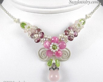 Wire Wrapped Necklace - Blushing Beauty Bouquet (Pink Sapphire, Tourmaline, Peridot, Quartz, Pearl, Sterling Silver)