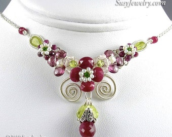 Wire Wrapped Necklace - Blooming Ruby Bouquet (Sterling Silver)