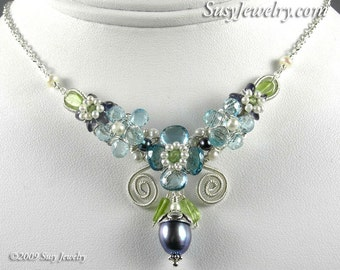 Wire Wrapped Necklace - Something Blue Bouquet (Topaz, Aqua, Iolite, Pearl, Peridot, Sterling Silver)  N-0101