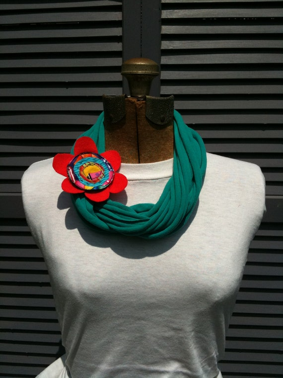 Infinity Scarf - (teal repurposed t-shirt and bright orange flower)