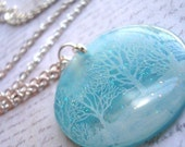 veterans day sale snow day 2 tiffany blue / translucent resin necklace