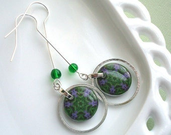 iris kaliedoscope earrings, purple and green , nature themed, resin earrings, gifts under 20