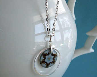 Floral kaleidoscope necklace,kaliedoscope eyes series ,birthday blue, resin necklace, gifts under 30