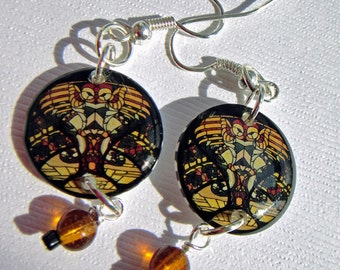 Owl  earrings ,stained glass window image earrings, black and goldn gifts under 20