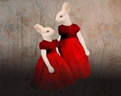 two little red rabbit girls  (5.8 x 6.6inchs)