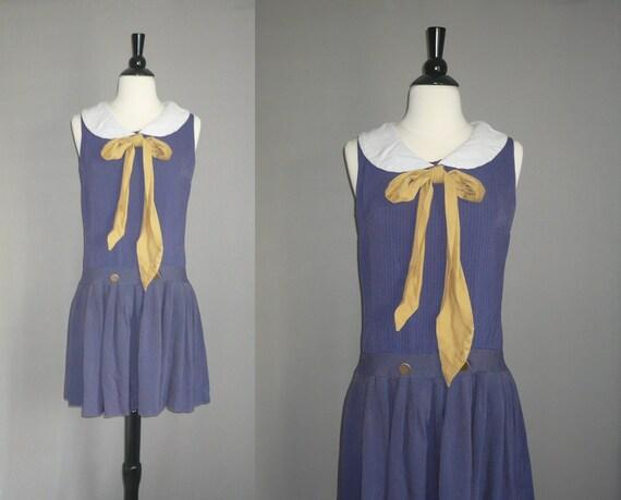 Vintage 40s/50s Navy School Girl Dress