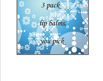 3 pack handmade Beeswax and Lanolin Lipbalms, You Pick.  Handmade by SoothingSuds