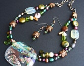 Dragonfly Garden Dichroic glass and natural stones necklace and earring set