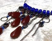 Choker.Royal blue,sapphire blue and rich rust beaded drop choker.