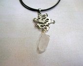 Unisex dragon pendant necklace.Crystal shard dangle.Black leather cord.