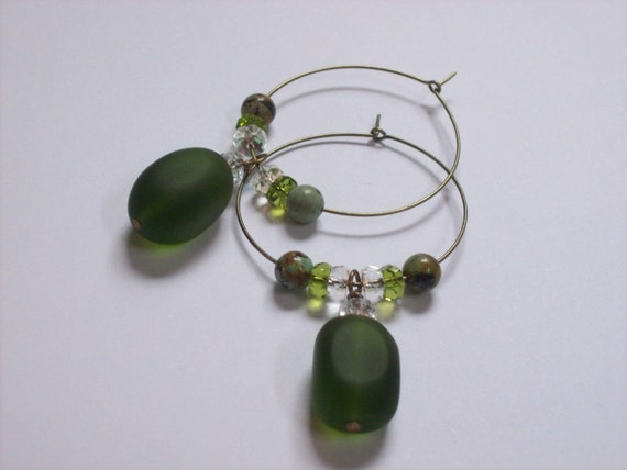 Peridot green sea glass hoop earrings with african turquoise