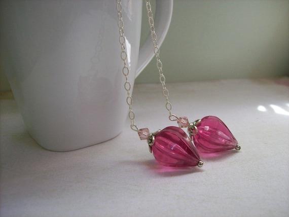 Long pink earrings.Magenta pink lucite teardrop dangle earrings.Sterling silver.