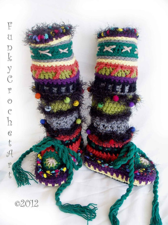Slipper Boots/Leg Warmers Fabulous and Funky/ Ladies Women Adult/From FunkyCrochetArt