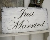 JUST MARRIED 12 x 24 Shabby Wedding Signs