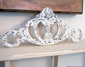 SHABBY COTTAGE CHIC Large Scrolled Cast Iron Topper  7 x 15 3/4