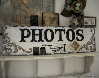 PHOTOS Vintage / Antique Style Sign with Pointing Hand or Finger 32 x 8