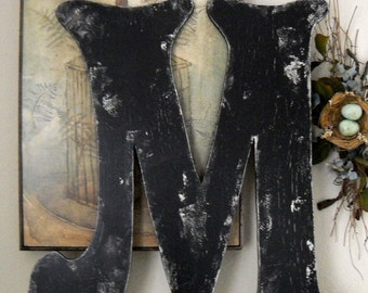 BLACK LETTER M Vintage Style 2 ft tall Wood Cut Out Signs Shabby Cottage ANY Letter A - Z