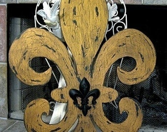 FLEUR DE LIS | Black and Gold | French Sign | New Orleans | 29 x 2l