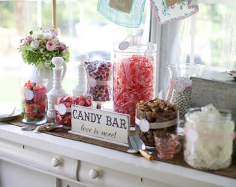 CANDY BAR Sign, Love is Sweet, Wedding Signs, ORIGINAL Design by The Back Porch Shoppe, 4 3/4 x 12