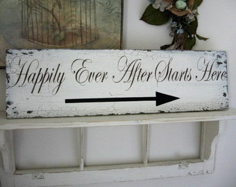 HAPPILY EVER AFTER Starts Here | Wedding Signs | Directional Signs | Shabby Cottage Wedding Signs 32 x 8 1/2