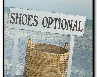 SHOES OPTIONAL - Beach Wedding Signs - INCLUDES 2 tall stakes 32 x 8 1/2