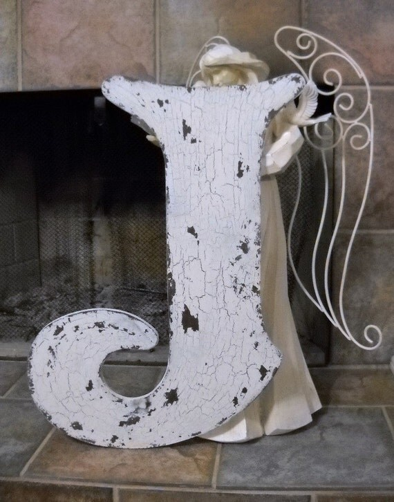LETTER J 2 ft. tall Shabby Chippy Cottage Vintage Style Signs French Chic Initials Letters
