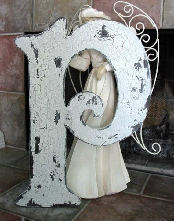 LETTER P 2 ft tall Shabby Cottage Vintage Style Initial Signs / Guest Book /  Save the Date / 24 inches ANY LETTER A - Z