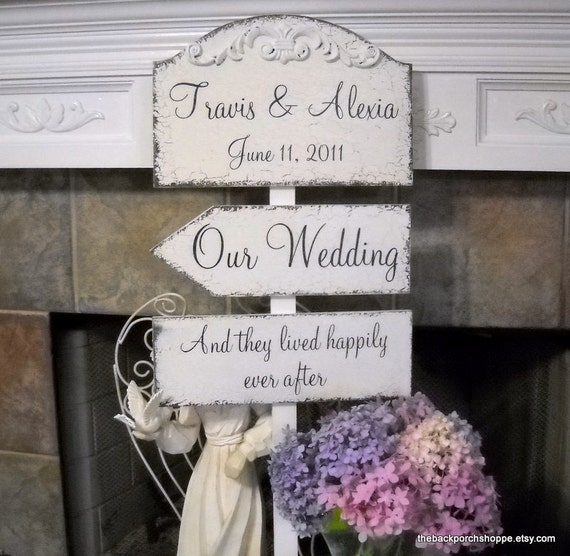 WEDDING PACKAGE of Custom Name and Date 10 1/2 x 15 3/4 / Directional 5 1/2 x 16 Arrow / Bottom Sign with Your Phrase