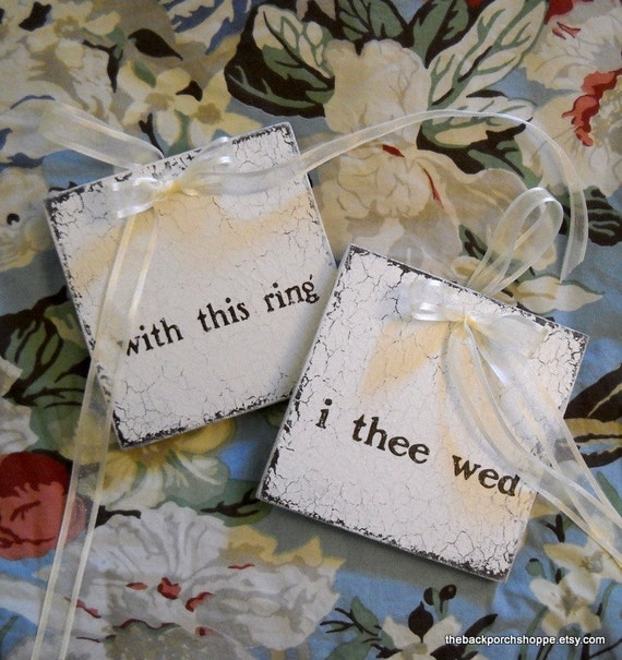 WEDDING RING BOARDS   Bride and Groom   Mr. and Mrs.   Wedding Signs   Ceremony   Shabby Cottage Signs 5 x 5