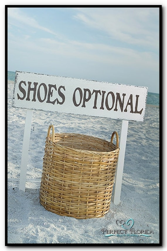 shoes optional beach wedding signs includes 2 tall stakes 32 x 8 1