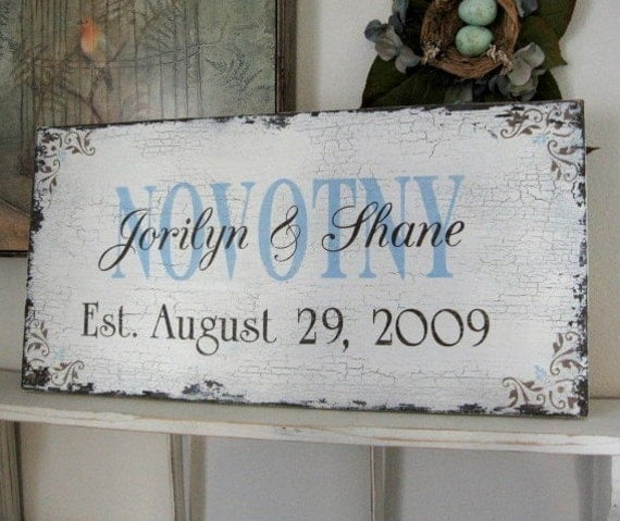 CUSTOM WEDDING SIGN or FAMILY SIGN w\/ Names and Date Shabby Cottage Vintage Style 24 x 12