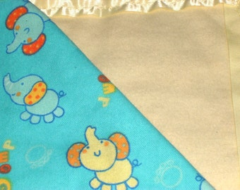 Flannel Blue/Yellow Elephant Baby Blanket