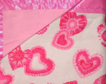 Flannel Pink Hearts Baby Blanket