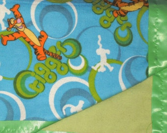 Flannel Blue Baby Blanket with Tigger Print