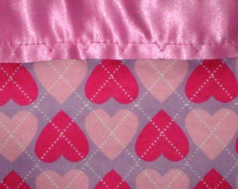 Flannel Pink/Purple Hearts Pillowcase