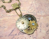 Steampunk Necklace, Clockworks Necklace, Choker, Laundry Pin, Vintage, Watch Parts, Edwardian, Cosplay, Gothic Necklace, Upcycled, OOAK