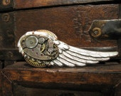 Steampunk Clockworks Brooch - a wing of steampunk - unisex - exclusive original design of Days Long Gone - DaysLongGone