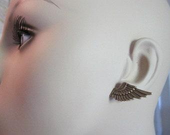 Wing Earrings, Angel Wing Earrings, Steampunk Earrings, Rocker, Rock Star, Mystical, Angel Wing, Antique Brass Ox, Metal, Pierced