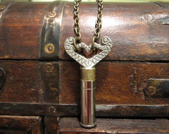 SALE! OOAK, Bullet Casing, Key Necklace, One of a Kind, Bite the Bullet, Men's Steampunk, Vintage Clock Key, Repurposed, Upcycled Jewelry