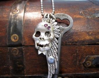 Skeleton Key Necklace, Skull Necklace, Wing Necklace, Rocker, Rock Star, Gothic Necklace, Men's Steampunk, Purple Swarovski Crystals, Charms