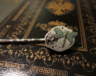 Steampunk Bobby Pin, Dragonfly Hair Pin, Verdigris, Clockworks, Dragonfly Hair Clip, Vintage Watch Parts, Gears, Women's Steampunk, For Her