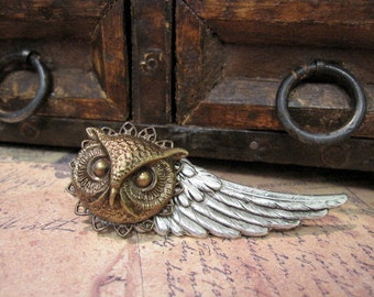 Owl Tie Clip, Men's Steampunk, Woodland Animal, Woodland Wedding, Wing, Tie Bar, For Him, Silver Wing, ORIGINAL DESIGNER Days Long Gone