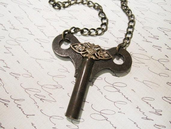 Clock Key Necklace, Mens Steampunk, Key Jewelry, Gothic, Upcycled, Noir  - key to the asylum