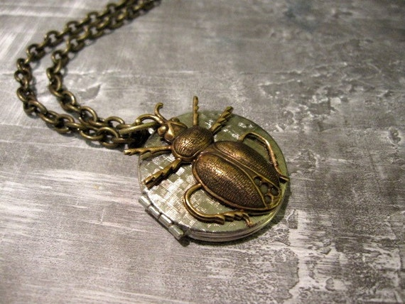 Silver Locket Necklace, Beetle Locket, Beetle Necklace, Scarab Necklace, Insect Jewelry, Gothic Bug Locket, Antique Brass, Textured