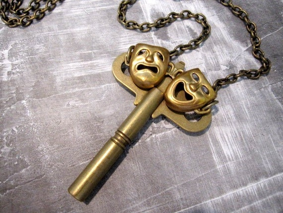 Comedy Tragedy Key Necklace - exclusive